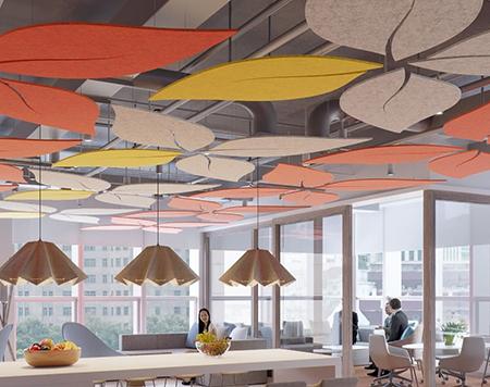 akustik dekoratif yüzer tavan paneli